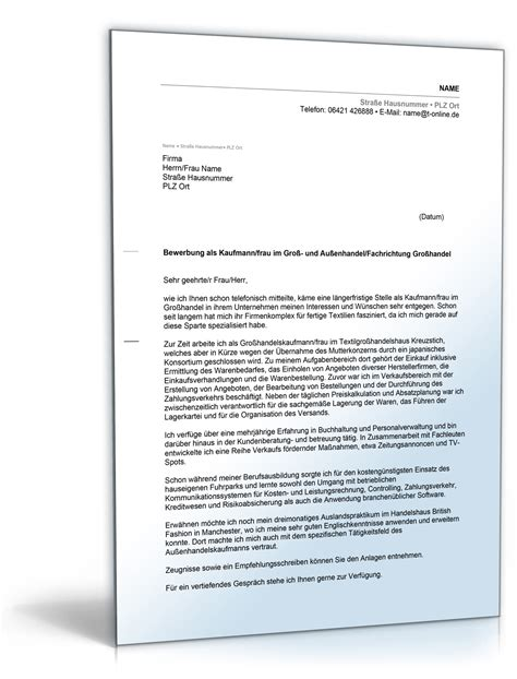 Anschreiben Bewerbung Ausbildung Kaufmann Für Versicherungen Und Finanzen Anschreiben Bewerbung Kaufmann Frau Im Gro 223 Und Au 223 Enhandel