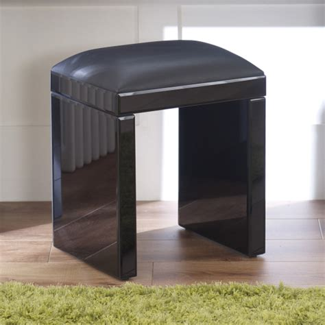 Mirrored Stool With White Seat Pad by Venetian Black Glass Dressing Table Stool Mirrored Faux