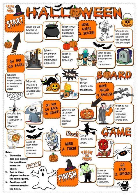 printable halloween board game esl halloween board game worksheet free esl printable