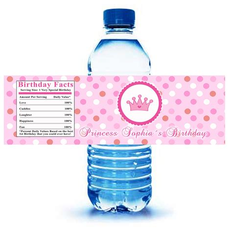 Printable Personalized Princess Water Bottle Labels Wrappers Personalized Water Bottle Labels Template
