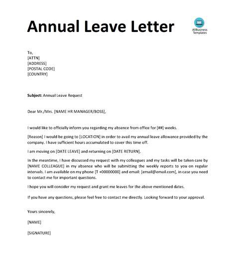 telecharger gratuit annual leave letter