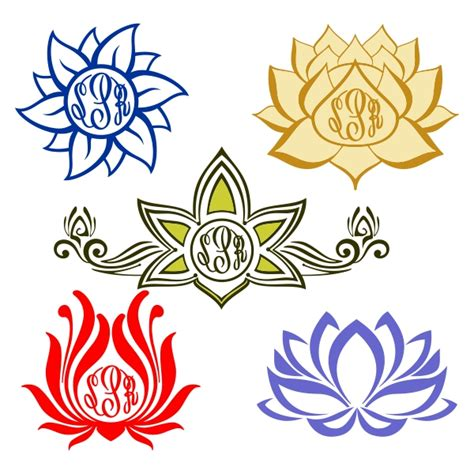 lotus flower designs lotus flower monogram cuttable designs