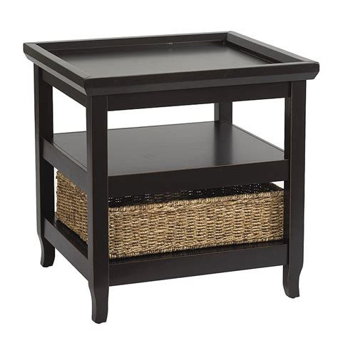 accent table with baskets morgan end table with basket ballard designs
