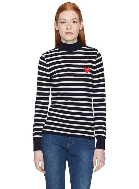 Sweater Comme Des Garcons 2 comme des gar 199 ons embroidered striped jumper s sweaters highcollars