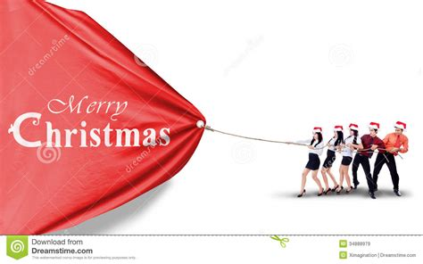 asian business team pull christmas banner stock image