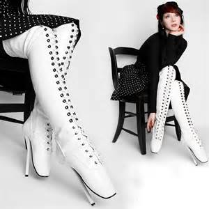white over knee ballet boots triple l