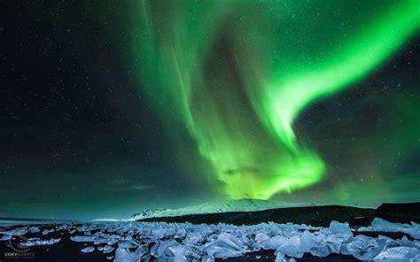aurora borealis northern lights night green stars ice wallpaper   wallpaperup