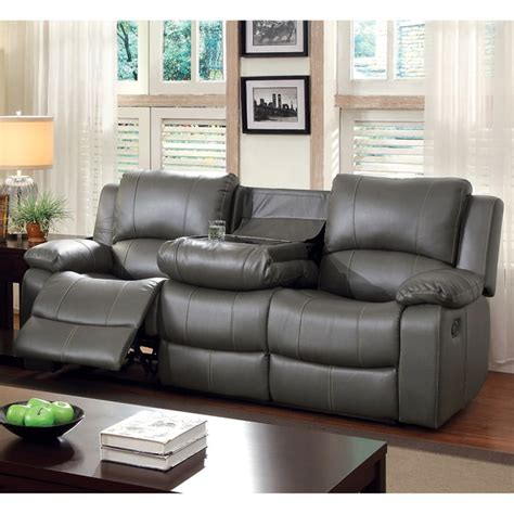 leather sofa recliners furniture of america rembren grey bonded leather reclining