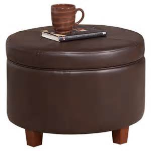 homepop large faux leather round storage ottoman ebay