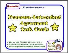 lynette task card template 1000 images about pronouns and antecedents on