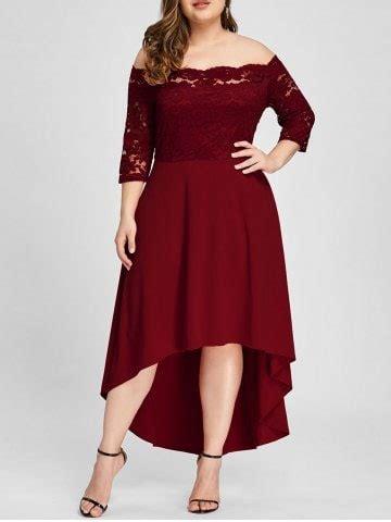 24440 Redwhiteyellow Roses Slim Dress wine 2xl plus size shoulder lace high low dress