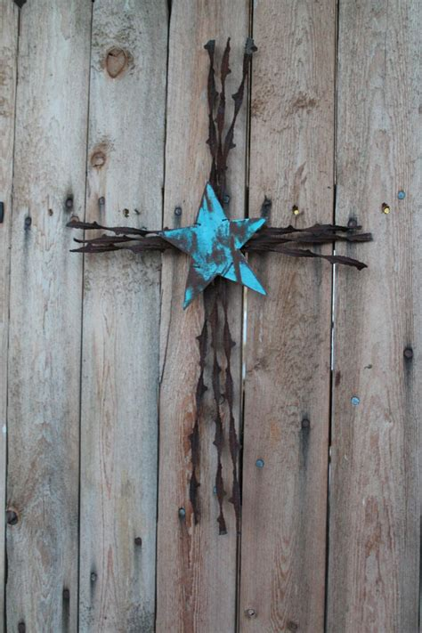 Handmade Cross - handmade christian wall decor barbed wire cross with metal