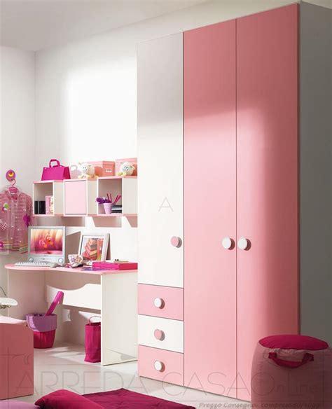 armadi camerette bambini cameretta bambina armadio scrivania rosa marika 08ph035