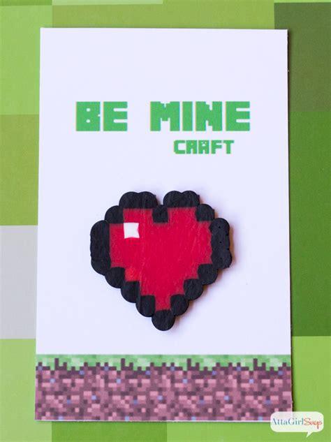 printable minecraft valentines with perler bead hearts atta girl says