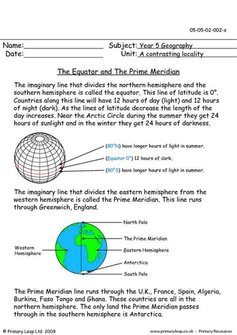 globe maps and lines of latitude worksheet the equator and the prime meridian primaryleap co uk