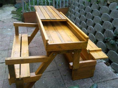 picnic table folds into bench diy pallet folding bench storage space 101 pallets