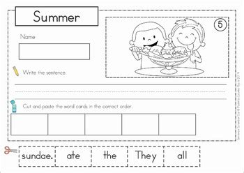 summer cut and paste worksheets sentence scramble with cut and paste worksheets summer