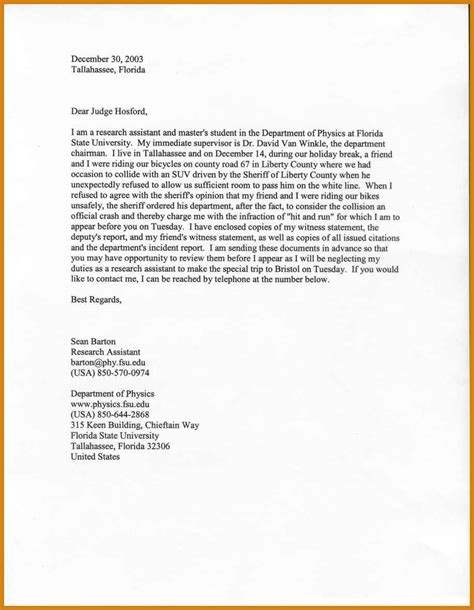 Letter To Letter Of Character For Judge Letter Format Template