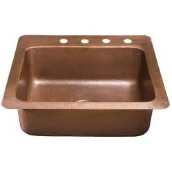 Kitchen Copper Sink Shop Sinkology Kahlo 22 In X 25 In Antique Copper Single Basin Copper Drop In 4 Commercial