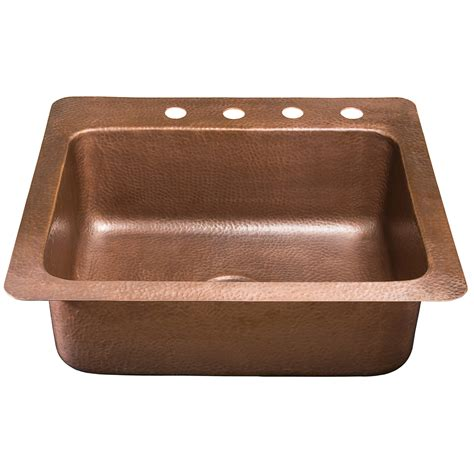Copper Sinks Kitchen Shop Sinkology Kahlo 22 In X 25 In Antique Copper Single Basin Copper Drop In 4 Commercial