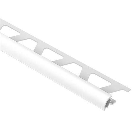 schluter rondec bright white 5 16 in x 8 ft 2 1 2 in pvc bullnose tile edging trim pro80bw