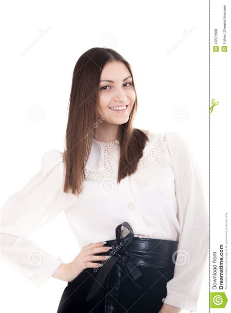 Beautiful Shirt smiling in office attire on white background