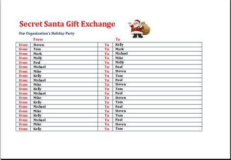 secret santa gift exchange list template excel templates