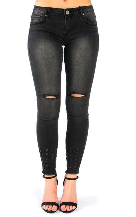 Ripped Cut Out Navy cut out knee ripped black silkfred