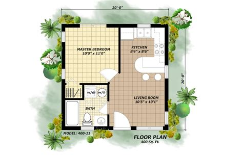 home plan design 400 sq ft 400 square foot model
