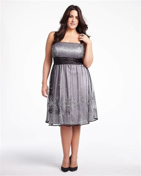 Dress Fashion Dr8962 Bta 2 embroidered glitter dress addition plus size trends silver white curvy plus size
