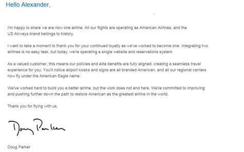 Closing Letter Many Thanks My Response To American Airlines Ceo S Letter To Me