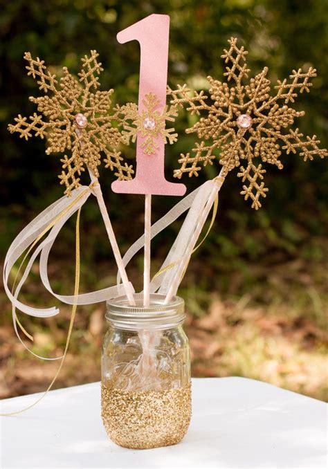 winter onederland pink  gold centerpiece snowflake