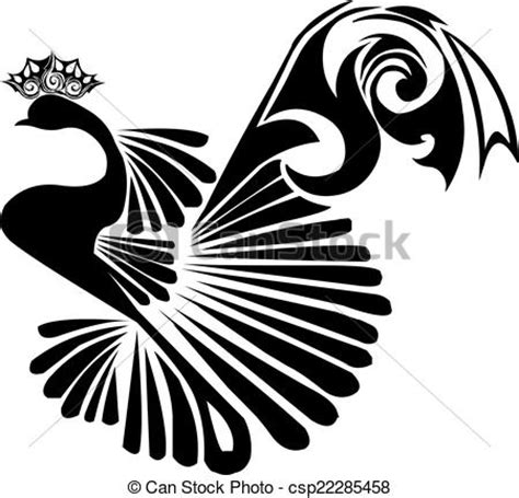 clipart vector of peacock tattoo design vintage engraving
