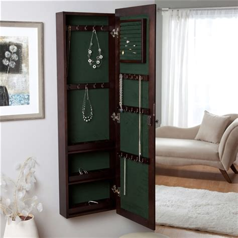 jewelry armoire espresso finish wall mounted locking jewelry armoire cabinet in espresso