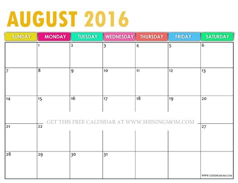 2016 Calendar August Pretty Printable Calendars For August 2016
