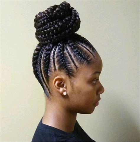 big scalp braids in ponytail feed in bun pinterest shiiphillips natural hair
