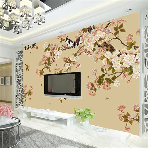 3d Wall Designs Bedroom Aliexpress Buy Vintage Bird And Flower Wallpaper Custom 3d Wall Mural Photo