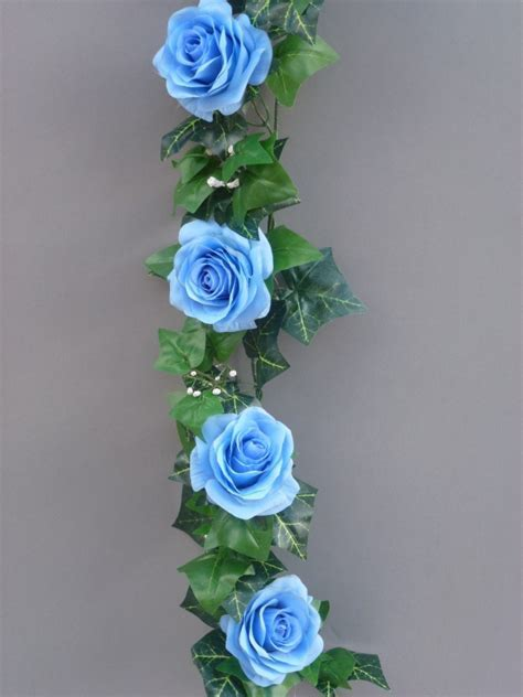 LIght blue artificial silk roses garland   Artificial