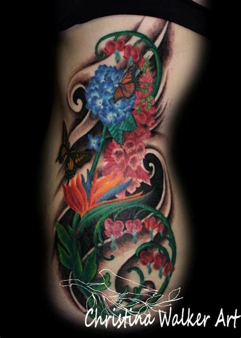 side piece tattoos floral side by walker tattoos