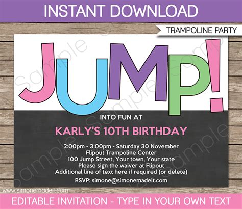 Diy Bounce Card Template by Troline Birthday Invitations Invitation Template