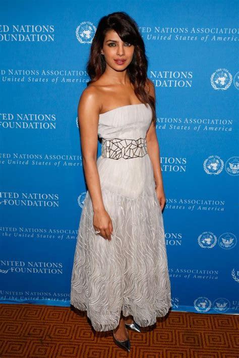 Prianka Maxi priyanka chopra in white dress at united nations
