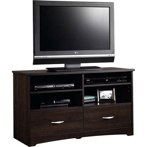sauder beginnings cinnamon cherry tv stand for tvs up to