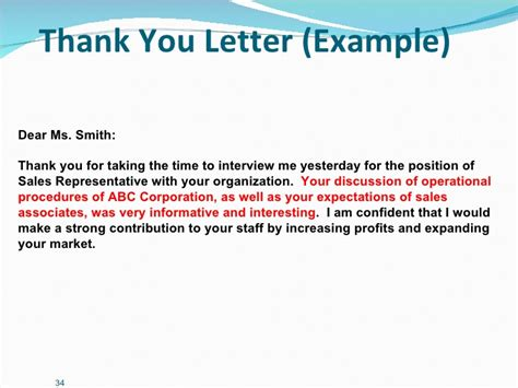 thank you letter after presentation sles career management presentation