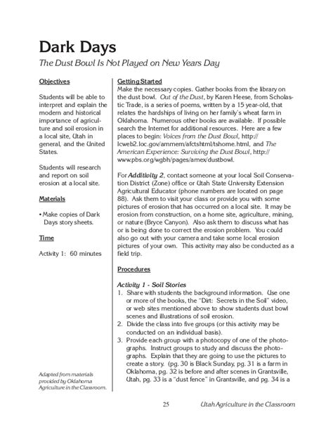 the dust bowl worksheet unit dirt