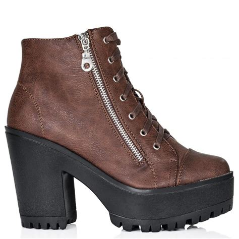 buy acne block heel lace up platform ankle boots brown