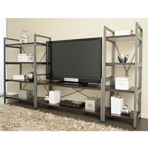 braden tv stand modern entertainment centers and tv stands thomas wide bookcase industrial tv stand and bookshelf