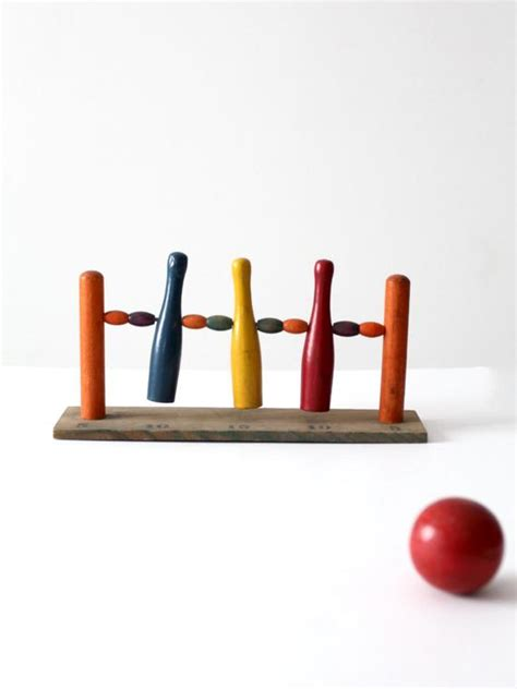 antique table top bowling game childrens  pin game
