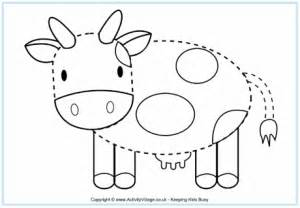 cow tracing page for kids