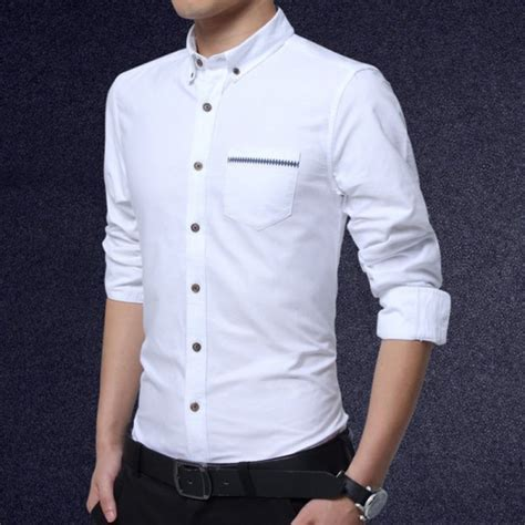Kemeja Slim Fit White Slim All Size Cutton Strech buy plus size clothing shirts sleeve 2017 new solid color slim fit shirt cotton