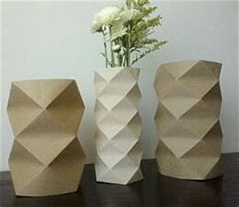 Origami Milk - gray made origami vase covers and upcycled milk vase
